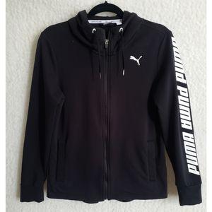 PUMA Black Zip Up Hoodie Spell Out Jacket